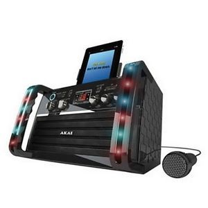 Akai KS 213 Portable Karaoke System CDG w iPad Cradle Line Input Speakers