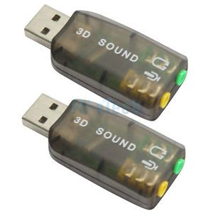 New 2 x USB Sound Adapter Card External Audio 3D Virtual 3 5mm Jack Plug Play