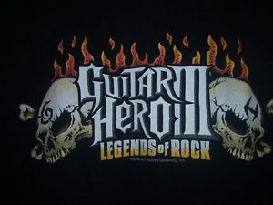 "Guitar Hero Three T Shirt III ""Legends of Rock"" Youth Large Video Game Skulls"