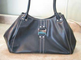 Nine West Black Leather Hobo Bag Purse Silver Hardware