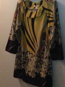 Aryeh Anthropologie Sweater Long Sleeve Dress Tunic Button Neckline Multicolored
