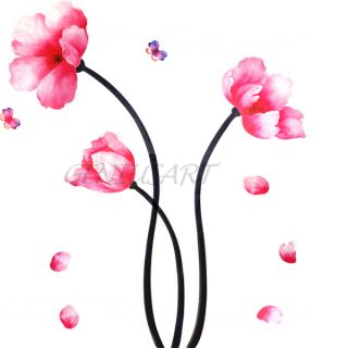 DIY Pink Peach Lotus Flower 2 Butterfly Art Mural Vinyl Wall Sticker Decor Large
