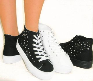 Studded Lace Up Sneakers Flat Canvas Tennis Chunky Platform Wedge Ankle Bootie