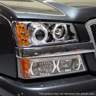 03 06 Silverado 04 05 Avalanche LED Dual Halo Projector Head Lights Fog Lamps