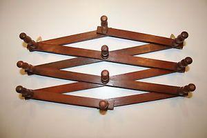 Old Vtg Folding Wooden 10 Peg Coat Hat Rack Accordion Wall Mount