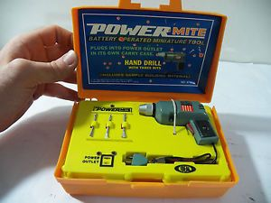 Vintage Ideal Powermite Battery Miniature Hand Drill Tool Set in Case Toy 1969
