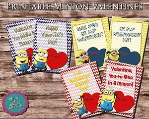 Printable Despicable Me Minion Valentines Printable Valentine's Day Cards
