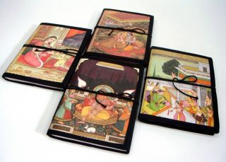Lot of 4 Indian Colored Print Painting Cover Designing Diary with Handmade Paper