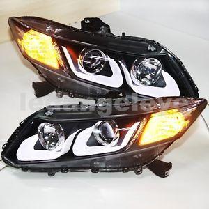 Fit Honda Civic LED Head Light Angel Eyes Projector Lens U Type 2012 2013 Year