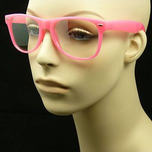Clear Lens Sun Glasses Pink Frame Optical Nerd Geek Retro Vintage Fake AMP4