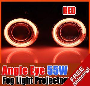 Pair 55W Universal Halogen Fog Light Projectors CCFL Halo Angel Eye Red