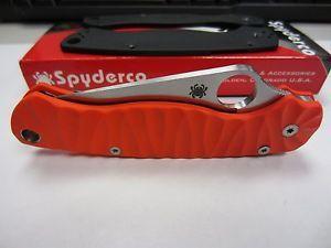 Spyderco Paramilitary 2 Custom Orange Scales Pocket Folding Knife Knives Blade