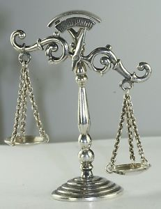 Vintage Miniature 1970's Sterling Silver Doll House Scales of Justice Statue