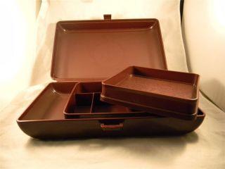 Tupperware Tuppercraft Personal Valet Case Craft Box Organizer Brown Model 1624