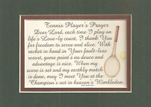 Tennis Players Prayer Wimbledon Rackets Slice Court Match Verses Poems Plaques