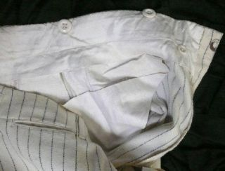 Orig Vtg 1910ISH Edwardian Mens Summer Cream Navy Pinstripe Wool 2pc Sack Suit