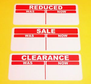 Bright Red Sale REDUCED CLEARANCE Price Point Stickers Sticky Labels Tags