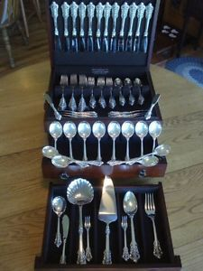 Dinner Size Wallace Grande Baroque Sterling Silver Flatware s 12 RARE Servers