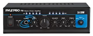 Pyle Audio PTA4 Stereo Amplifier 2X120W Mini Power Amp with Bass Treble Control