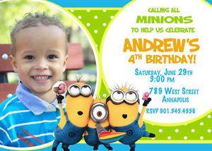 Despicable Me Minion Birthday Party Invitation Digital Printable