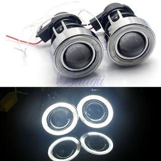 White Universal Car Angel Eye Projector Fog Light Lens Kit Halo CCFL Lamp Metal
