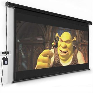 "120"" Electric Motorized Remote Projection Screen Movie Projector Black Matt 16 9"