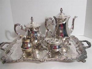 Kent Silversmiths 5 PC Silver Plated Tea Coffee Server Set w Tray L K
