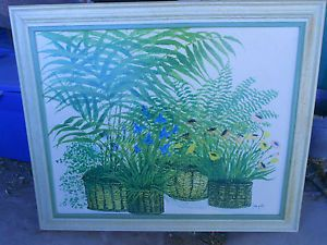 Vtg Mid Century Turner Wall Accessory Ferns Poppies Batchelor Buttons Ida Pellei