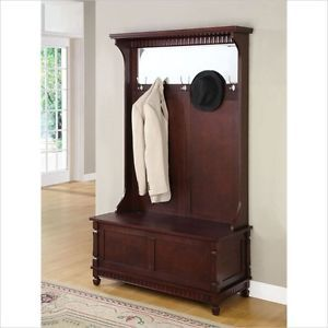 Entryway Hall Tree Coat Rack with Storage Bench in Merlot Finish