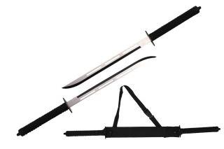 "26"" Full Tang Two Tone Blade Japanese Ninja Twin Sword Set w Shoulder Case"
