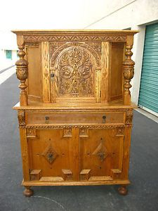 2OF3 Vintage French Country Ornate Oak Server Hutch Buffet Cabinet Wine Rack