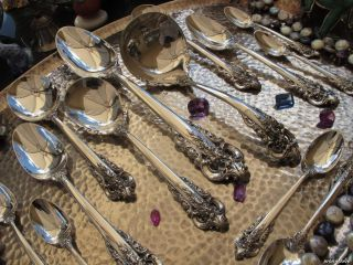 63P Old Wallace Grand Baroque Sterling Silver Flatware Set Large Servers Perfect