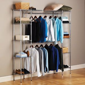 3 Shelf Storage System Clothes Organizer Storage Garment Wardrobe Rack Closet