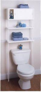 Space Saver White Bathroom Cabinet 2 Plastic Shelves