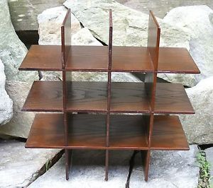 Vtg Mid Century Danish Square Box Wood Wall Table Shelf Shelves