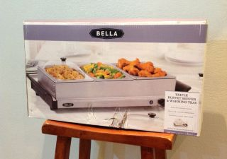 Bella Triple Buffet Server Warming Tray Stainless Steel 3 1 5 Qt
