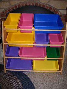 Battat Toy Storage Wood Wooden Shelves with Plastic Bins Pink Purple Yellow Blue