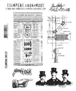 Tim Holtz CMS107 Steampunk Cling Rubber Stamps Hand Men Catalog Diagram Object