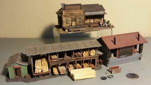 HO Scale Small Building Lot Lumber Yard Office House Train Raildroad Kit Wood