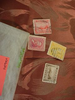 4 Hawaii Postage Stamps from Old Stamp Collection Book Hawaiian Lot 67