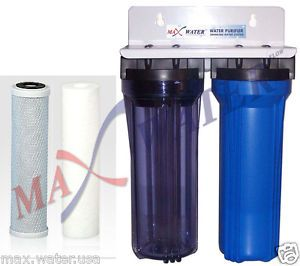 "2 STAGE10"" Whole House Water Filter Sediment Carbon Filter RVs Well Pool Boiler"