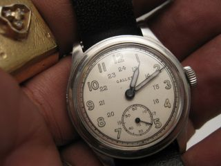 WWII 1940 45 Signed 3 Times Gallet Military Shock Protected Wrist Watch