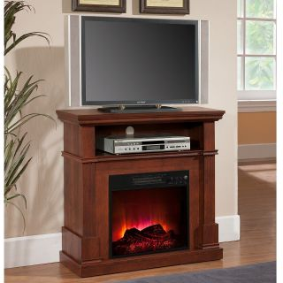 Electric Fireplace Heater Built in Media Shelf Entertainment Center TV Stand