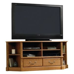 Sauder Orchard Hills Corner Entertainment Center Credenza Carolina Oak TV Stand