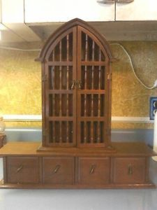 Vintage Gothic Style Wooden Jewelry Box Wall Mount Cabinet Display