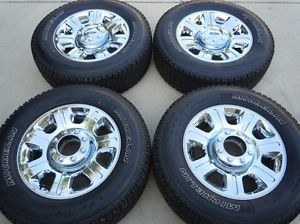 """2014 F250 F350 20"""" Factory Chrome Clad Wheels Michelin Tires New Take Offs TPMS"""