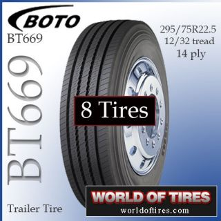 8 Tires Boto BT669 Trailer Tire 295 75R22 5 Semi Truck Tires 295 75 22 5 22 5