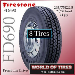8 Tires Firestone FD690 295 75R22 5 22 5LP Tires 22 5 Semi Truck Tires 22 5 LP