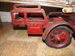 RARE Vintage Pressed Steel Buddy L Deluxe Aerial Pull Fire Truck with Ladder