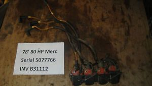 1978 80 HP Mercury Outboard Ignition Coils Spark Plug Wires
